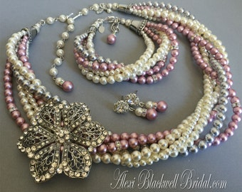 Complete Bridal Jewelry Set Pearl Necklace Bracelet Earrings Twisted in 6 strands Swarovski Pearls with Rhinestone Brooch choice of colors