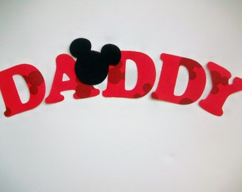 DADDY - DIY No-Sew - Mickey Mouse Applique - Iron On