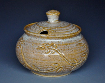Pottery Sugar Bowl Small Ceramic Stoneware Jar B