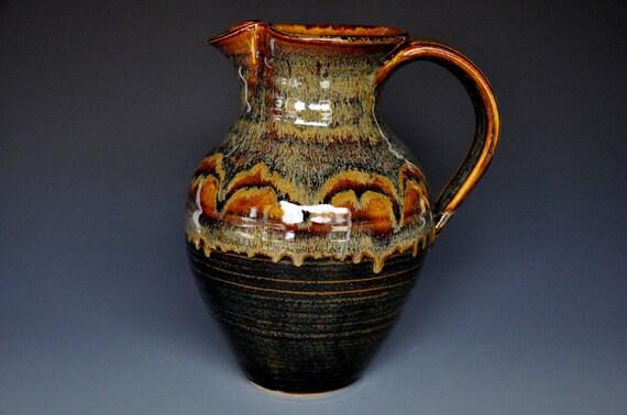 Pottery Pitcher Ice Tea Pitcher Ceramic Jug Dark Umber B