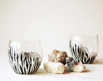 Whiskey Glasses, Goblets, Hand Painted Glasses, Zebra Glasses, set of 2