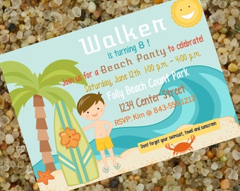 Surfer Boy, Beach Party Birthday, Surf Party Birthday! Personalized Invitation!