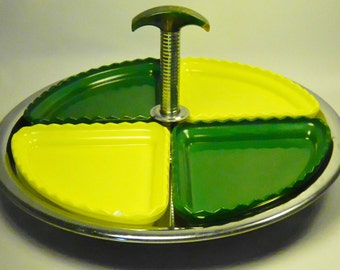 Vintage Hazel Atlas Lazy Susan  Serving Tray  Relish Tray  Lime Green and Forest Green