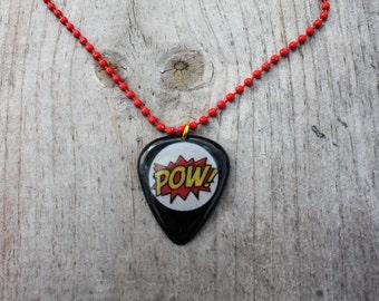 Pow Guitar Pick Necklace