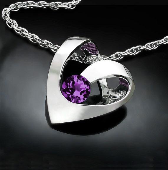 alexandrite necklace, alexandrite pendant, June birthstone, heart pendant, fine jewelry, Argentium silver, romantic -  3401