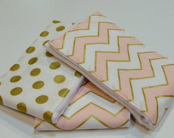 Diaper Burp Cloth set of 3  -Pink and Gold Chevron and Gold Dots