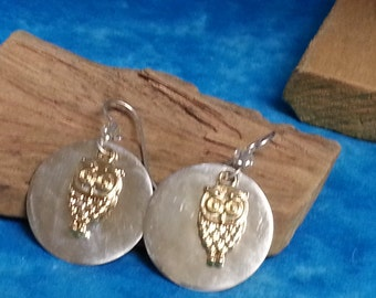 Sterling Silver Vermeil Owl Earrings