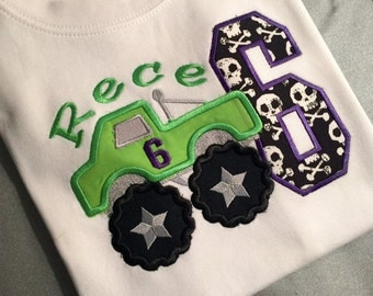 Monster Truck Birthday  Number Applique and Name choose any fabrics to your liking,