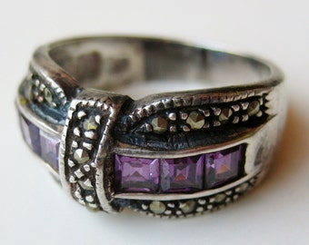 Vintage Ring Jeweled Amethyst Marcasite Art Deco Sterling Silver Cocktail Ring size 9