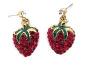 red rhinestone strawberry earrings, vintage, gold tone , green stems, red berry earrings