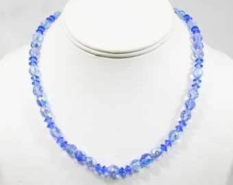 1950s Blue Glass Neckklace - Pretty Elegant 50s Jewelry - Mint Condition - Evening Cut Glass Beads - Filigree Clasp - Gift Idea - 42610