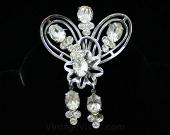 Regal Rhinestone Pin - 1950s Dangling Rhinestones Brooch - Converts to Pendant - 50s Cabochons Clear Stones Princess Like - Glamour - 42494