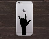 ILY, Love Hand Silhouette Vinyl iPhone Decal BAS-0252