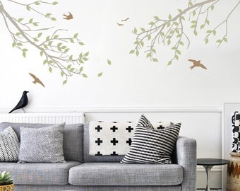Branches with Leaves and Birds Three-Color Wall Decal - WAL-2114C