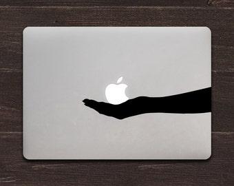 Apple Offering, Hand Silhouette Vinyl MacBook Decal BAS-0244