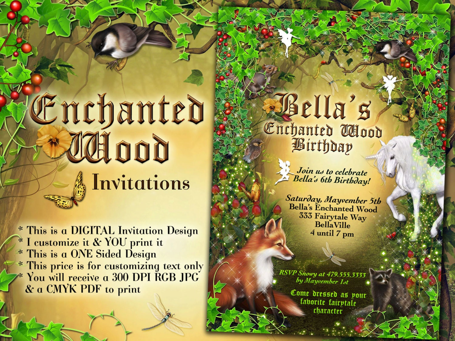 Fairy Forest Party Enchanted Wood Invitation Unicorn Fairy