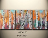 birch trees, Autumn - large original modern painting, textured, 48x20inch, on stretched canvases, ready to hang