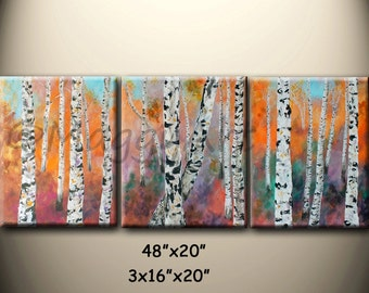 birch trees painting, wall art,textured, Autumn,tree trunk,orange,white black48x20inch stretched canvases,office home decor,On Sale
