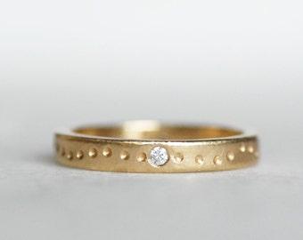 Diamond Shoreline Wedding Band - 3mm 14k Gold Diamond Ring- Eco-Friendly Recycled Gold