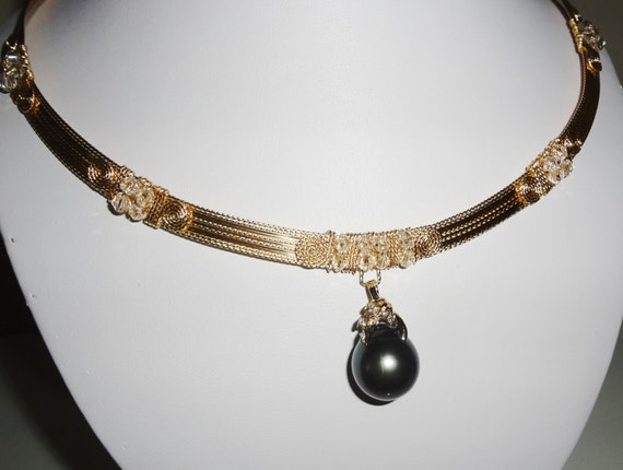 """19mm Dark Gray Tahitian Cultured Pearl, 14kt yellow gold bail with 6 diamonds, 14kt YG 20"""" Necklace"""