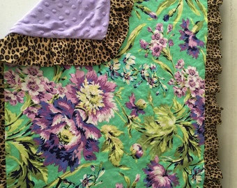 LEOPARD & LAVENDER MINKY dot with Amy Butler Floral fabric baby Blanket with Free Embroidery
