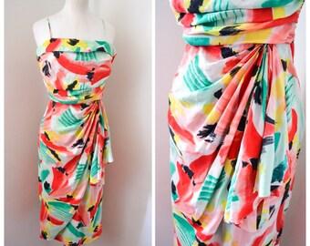Pure silk printed sarong dress / 50s style summer dress - XS