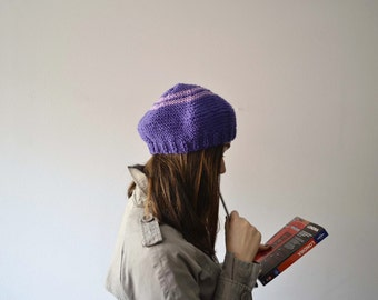 Winter hat, lilac beret, winter tam, tam hat knit, knit beret, women accessories