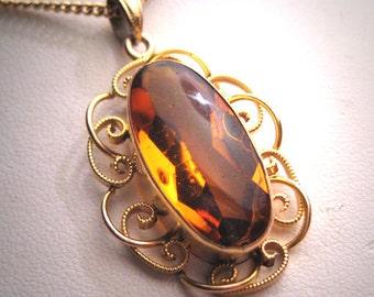Antique Topaz Lavaliere Necklace Gold Filigree Victorian Art Deco 20s