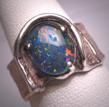antique australian black opal ring modernist mid century