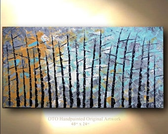 "Made to Order 72"" Tree Aspen Painting Pine Alder Abstract 48x24 Turquoise Wall Decor Textured Modern Contemporary art Made to Order by OTO"