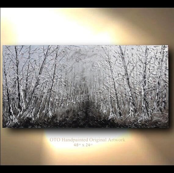 Original tree painting metallic silver landscape forest for Metallic paint artwork