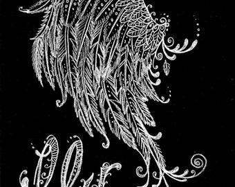 Instant Download Fly spritual Art Chalk print Digital