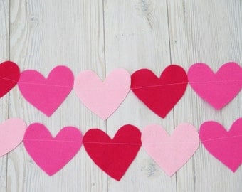Christmas baby Garland - Party decorations, Pink felt heart garland , girl room decoration , baby shower decoration- birthday decor