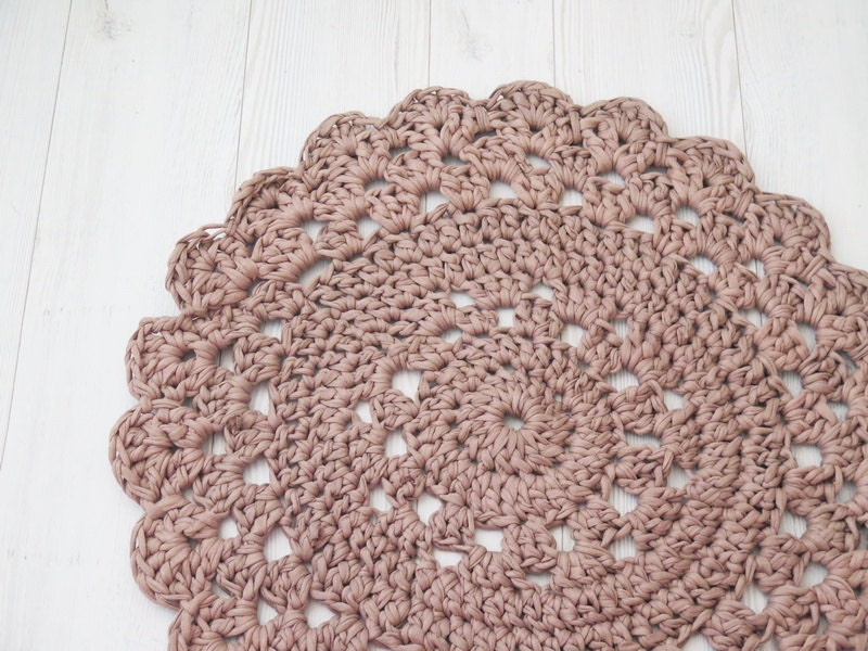 Crochet Rug Doily Rug Small Round Rug Bath Mat By SweetnCozy