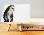 "Barn Owl Postcard Art Print, Bird Illustration, Digital Drawing, Animal Wildlife Illustration  4"" x 6"" OWL1"