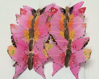 Feather Butterflies -12 Tiny Swallowtail Butterfly Embellishments in Pink - 1.5 Inches - Artificial Butterflies