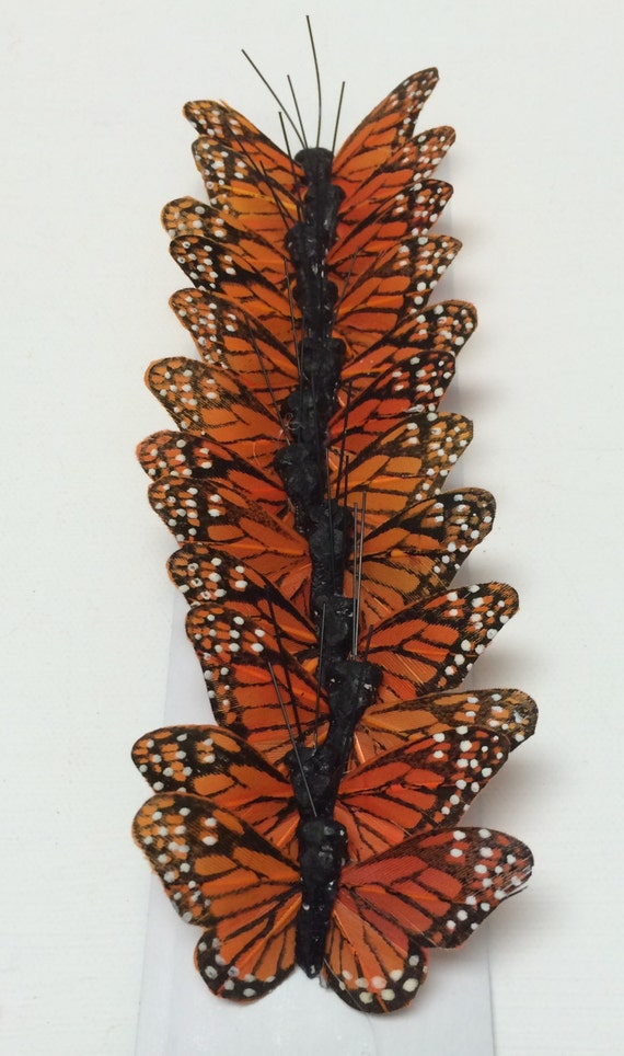 """Feather Butterflies -12 Small Monarch Butterfly Embellishments in Orange and Black - 2"""" - Artificial Butterflies"""