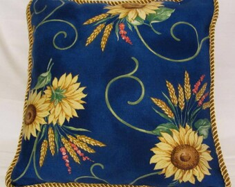 Provence Country French Pillow Blue Sun Flower Yellow Gold Cottage Country