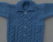Cardigan/jacket/jumper, for a baby /toddler hand knitted, size 0-6 months, soft wool mix blue yarn, aran style, suit boy or girl.