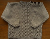 Jumper/sweater/top for a baby/toddler, hand knitted age 12-24 months, suit boy or girl, aran style, beige/fawn soft acrylic yarn.