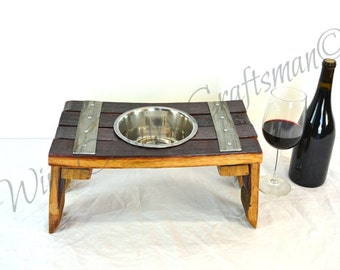 MAZITI - Guigna- Wine Barrel Stave Elevated Dog Food and Water Bowl Stand - 100% recycled