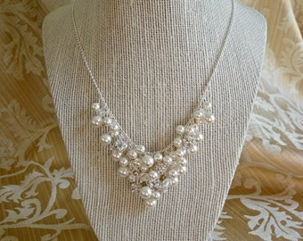 Denise: Swarovski Pearls, Crystals, and Fireball Bib Style Statement Necklace for Bride, Bridesmaid, or Fashion