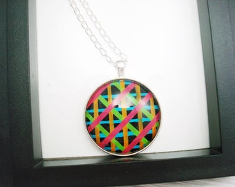 Neon Plaid Pendant Necklace, Nail Polish Pendant, Neon Necklace, Black Necklace, Glass Pendant, Nail Polish Jewelry, Gift for Her