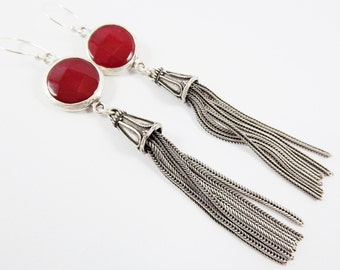 Red Round Gemstone Tassel Earrings - Jade - Matte Silver plated with Sterling Silver Earwire - Boho Gypsy Style