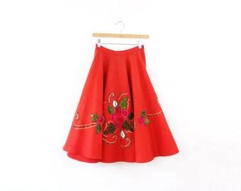 VINTAGE 1950s Poodle Skirt Red