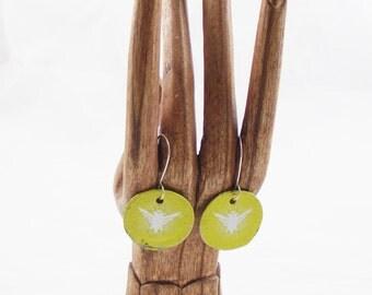 Dangel Earrings Bottlecap Smirnoff bottle cap earring upcycled  eco friendly jewelry recycled bottlecaps yellow earring birds