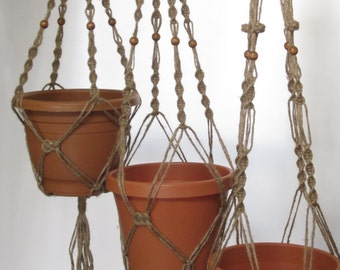 Macrame Plant Hangers Button Knot Style 4mm TRIO 28 inch, 34 inch, and 40 inch Jute with Beads
