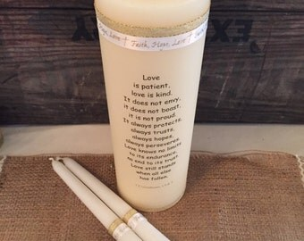 Wedding religious unity candle ceremony candle set first Corinthians pillar and tapers gold ribbon ivory candle