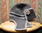 Buggs - Crochet Toddler Aviator/Bomber Hat in Shades of Grey