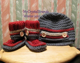 Buggs - Baby Booties and Newsboy Hat in Cranberry and Charcoal Grey